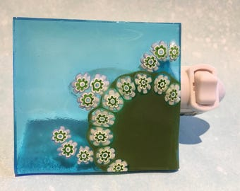 Sea Turtle Nightlight * Fused Glass Night Light * Handmade Italian Glass Millefiore White Green on Aqua