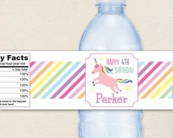 Unicorn Party - Unicorn Water Labels - 100% waterproof personalized water bottle labels