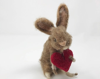 Valentines Bunny Rabbit/Needle Felted Bunny Rabbit/Bunny for Valentine's Day/Gifts for lovers/Valentine's for kids/Wool Rabbit/Felt Bunny