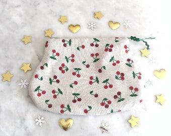 Pouch / bag / fabric / cherry print.