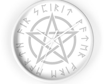 Wiccan Pentacle Wall Clock/ Wiccan Wall Clock/ Wiccan Clock/ Witch Wall Clock/ Witches Wall Clock/ Pentacle Wall Clock/ Wiccan Star Clock