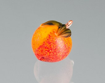 Glass Peach Charm /pendant lampwork bead fruit jewelry hand blown glass art birthday gift, Easter gift for gardner, cook, chef, gourmet