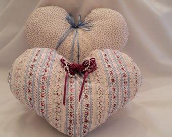 Heart Pillows, Ring Bearer Pillow, Wedding Pillow, Victorian Pillows, Shabby Chic Pillows, Decorative Heart Pillows, Country Cottage Decor