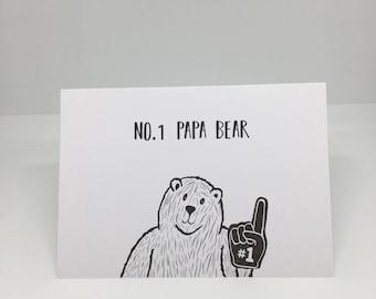 No.1 Papa Bear, Fathers Day Card, Birthday Card, illustration, Bear, A6