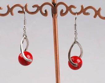 Red Earrings Jasper Earrings Genuine Stone Earrings Red Stone on Silver Earrings Birthstone for Oct Gift for Oct Birthday Stone Healing