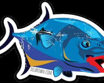 Colorful Permit Fish Sticker