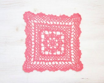 pink Crochet square Doily hand dyed Vintage lacy doily