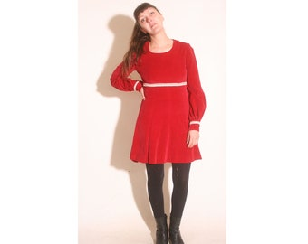 Vintage 1990s Long Sleeve Red Velvet Empire Waist Cream Lace Trim Grunge dress size S/M