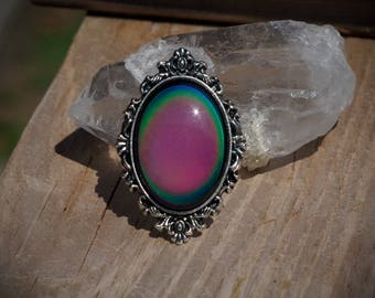 Silver Tone Ornate Mood Color Change Hand Made Adjustable Ring