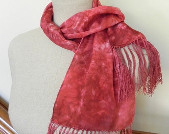 Silk scarf with fringe hand dyed chili red-orange, ready to ship, 7.5 x 60 inches, crepe silk scarf #502