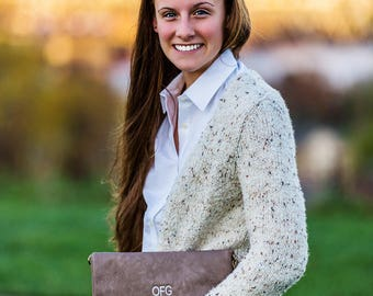Monogrammed Clutch | Tassel Fold Over Crossbody| Faux Leather | Mother's Day, Christmas, Bridesmaid Gift, Gift for Her |  Multiple Colors