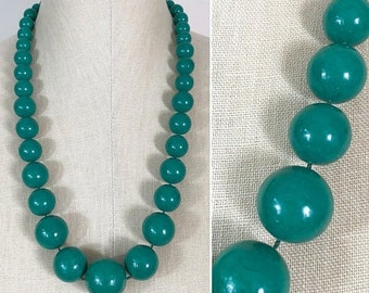 30% Off Sale 80s Green Graduated Beaded Single Strand Long Necklace