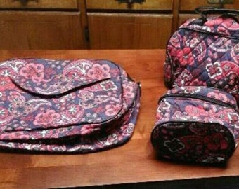 Quilted Paisley Travel Bag Set of 3