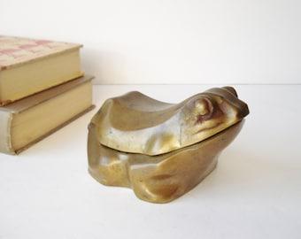 Vintage Brass Frog Trinket Box, Keepsake Box, Large Brass Frog Figurine, Brass Bowl Box