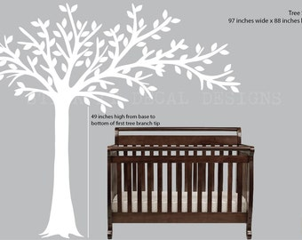 White Blowing Tree Wall Decal, Nursery Wall Decal, White Tree Wall Decal, nursery decor, All White Design