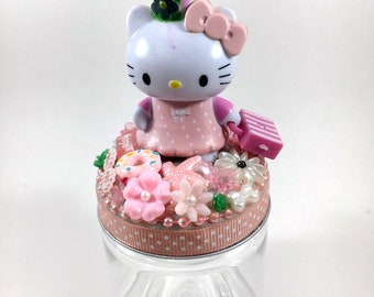 Hello Kitty Assemblage Art Trinket Jar Party Favor - Travelling Kitty