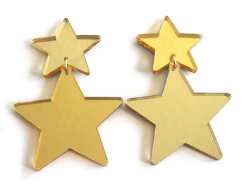 FLOS ASTRA Lucent Statement Earrings - Star earrings, modern earrings, stars, plastic earrings, laser cut, big earrings, star jewelry
