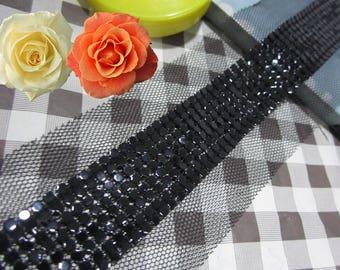 black aluminum sheet  Beading Lace Trim black gauze for Bags Collars Pockets Headwears  - 90cm (4cm Width) YSFL08