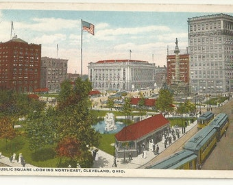 1910s WB White Border Postcard- View of Public Square Looking Northeast, Cleveland,  Cuyahoga County, Ohio, OH. ~ Free Shipping