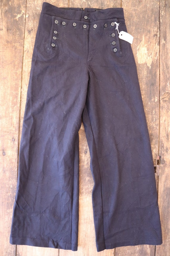 "Vintage 1960s 60s midnight navy blue wool USN US navy bell bottoms flares 13 button lace back Vietnam era 28"" x 30"""