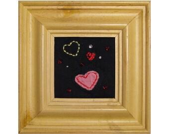 Mini Art Quilt, Framed Heart Quilt, Love
