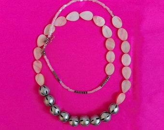 Double Wrap Necklace, Long Beaded Necklace, Pink Silver Boho Necklace