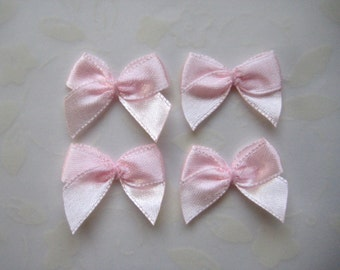"""1"""" Pink Satin Ribbon Bow Appliques for Wedding Favors, Crafting, Doll shoes, Sewing, Invitation Cards, 3/8"""" Ribbon Wide, 32 or 100 pieces"""