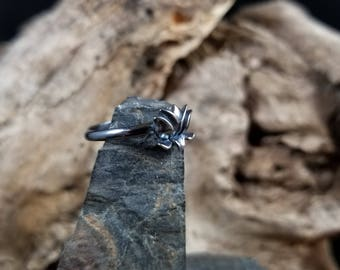 Lotus Sterling Silver Stacking Ring Size 8