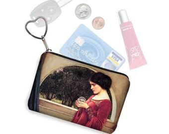 Small Zipper Pouch Coin Purse Keychain Key Fob Boho Business Card Holder Waterhouse Crystal Ball Art Woman Goddessred blue beige RTS