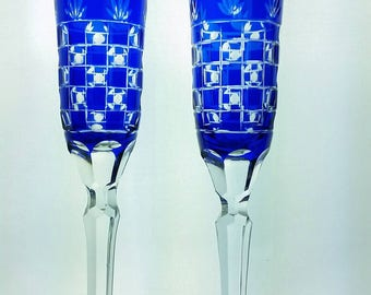 Hand Blown Cobalt Sapphire Blue Cut to Clear Crystal Wine Champagne Flute Glasses Checkerboard
