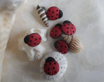 Lady Bug, Apple, Babie's, and Duck Buttons, 6 and 2 in a bag