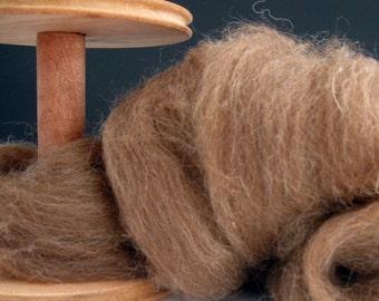 Ecru/Undyed/Natural Shetland Moorit wool roving (combed top), spinning fiber - 4 ounces