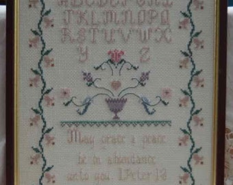 Lovely cross stitch embroidered sampler Bible verse  In excellent condition