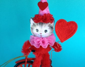 Valentine's Day Decoration Kitty on a Tricycle  Valentine Ornament TVAT