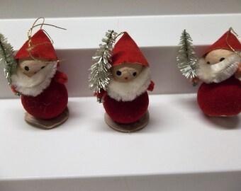 Vintage Santa Ornaments Holding Bottle Brush Trees Set Of 3