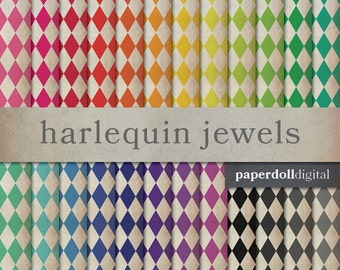 Harlequin Diamond Digital Paper - Jewel Tone Digital Paper - Textured Scrapbooking Paper - Distressed Paper - Instant Download - 24 Colors