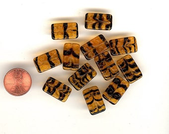 12 Vintage Glass Beads Tortoise Grooved Rectangular Marjorie Brand Beads 18mm No.235
