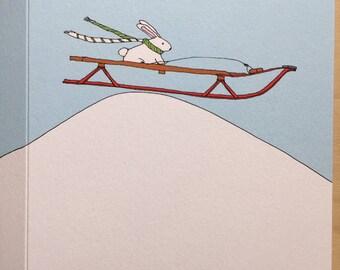 Sledding Bunny Card -  holiday card - christmas card - winter card