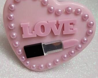 Love PINK Lipstick Compact Purse Mirror