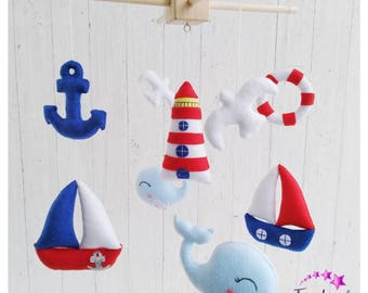 Nautical Nursery Baby Boy Mobile Baby Shower Gift Nautical Baby Mobile Felt Sea Navy Nursery Sailboat Mobile Ocean Baby Mobile Under the sea