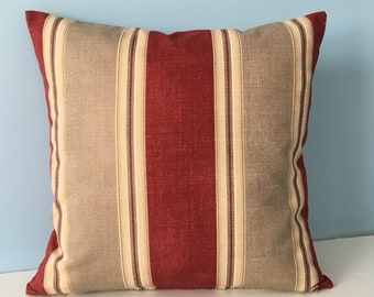 French country pillow. Farmhouse throw pillow cover. Burgundy and tan. Waverly Ticking. Country cotage sofa pillow Decorator Toss pillow