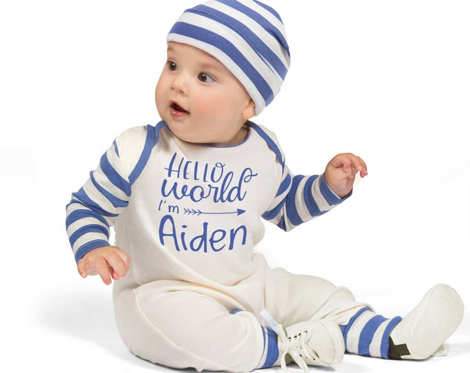 Personalized Newborn Boy Coming Home Outfit, Newborn Boy Outfit, Baby Boy Romper, Baby Boy Outfit, Blue Stripe Romper, Hello World, TesaBabe