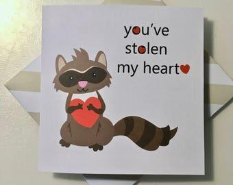 Raccoon valentines card. Animal card. Valentines day card. Raccoon card. Love you card. Stolen my heart card. Birthday card. Cute raccoon.