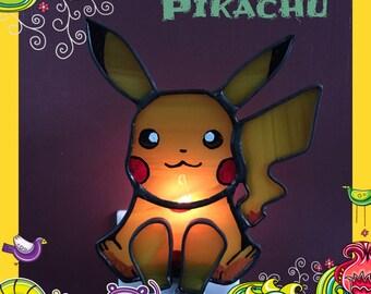 Pikachu Inspired Night Light, Sun Catcher, Stained Glass, Handmade, Custom Made, Limited Edition, Pokemon, Bedroom Decor