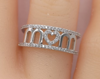 Mom Ring/Heart Mom Ring/Mother's Day Gift/925 Sterling Silver Mom Ring/Gifts for Mom