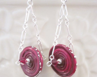 """The Simply Elegant Collection - """"Rollin Red"""" Sterling Silver Earrings - Lampwork Glass, Chains, Ear Wires, Crystal, Unique, OOAK, SRAJD"""
