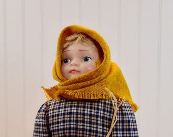 Vintage Doll, Guy Luy & Hurbert Doll, Studio Little Orphan Girl, Marysia, made in Cracow, Poland, Handmade Collectible