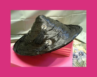 Free Shipping Vintage Raffia Hat