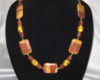 Yellow and Rust Agate beaded necklace