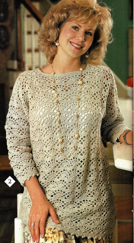Crochet Tunic Top Pattern, Easy Fan Lace Tunic Pattern, Women Ladies ...